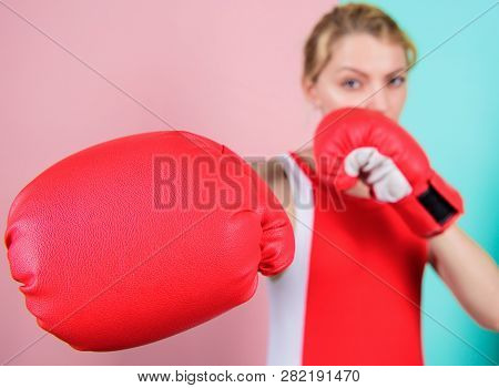 Ambitious Girl Fight Boxing Gloves. Female Rights. I Am Gonna Kick You Off. Confident In Her Boxing