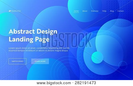 Blue Circle Abstract Shape Landing Page Background. Futuristic Digital Minimal Round Gradient Patter