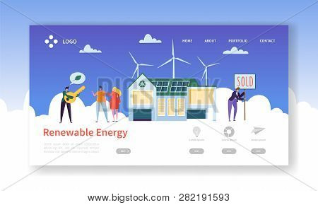Green Renewable Solar And Wind Energy Landing Page. Eco House Concept With Happy People Buying Windm