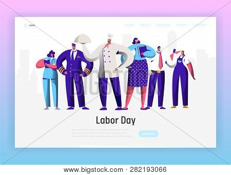 Labor Day Different Profession Character Group Landing Page. September Holiday National Celebration