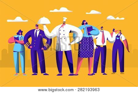 Different Job Worker Set For Labor Day Holiday Banner. People Group Work In Uniform. Chef, Pilot And