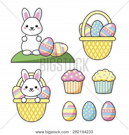 Set Of Cute Kawaii Easter Cartoon Characters. Easter Bunny, Sweets And Basket Of Easter Eggs. Beauti