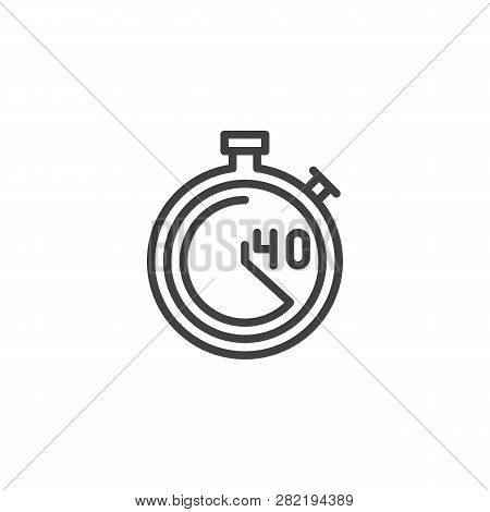 Stopwatch With 40 Minutes Delivery Time Line Icon. Linear Style Sign For Mobile Concept And Web Desi