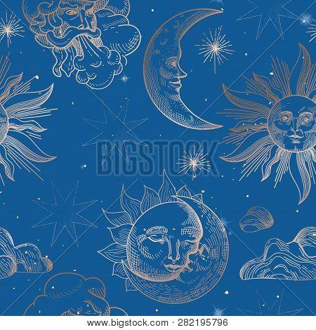 Sun Moon Vintage Vector & Photo (Free Trial) | Bigstock