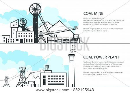 Set Of Horizontal Banners With Mining And Coal Power Station, Complex Industrial Facilities With Spo