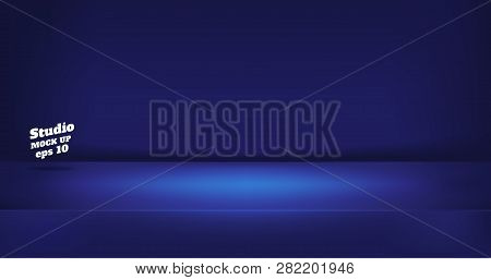 Vector,empty Neon Style Dark Blue Color Studio Table Room Background ,product Display With Copy Spac