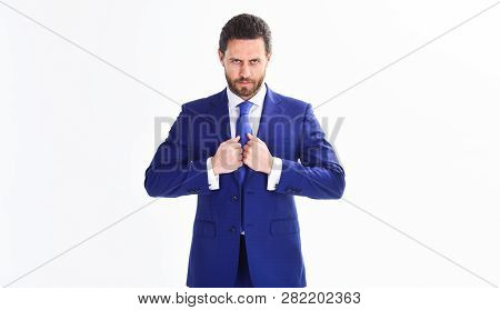 Businessman Concept. Confident Businessman Isolated On White Background. Bearded Businessman In Form