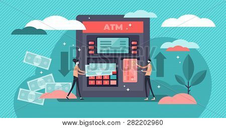 Atm Cash Machine Vector Illustration. Flat Tiny Persons Money Withdrawal Concept. Cash Circulation I