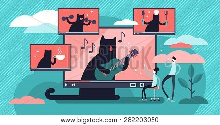 Youtuber Vector Illustration. Flat Tiny Social Media Video Persons Concept. Online Video Channel Con