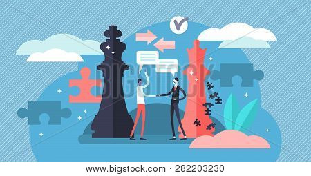Negotiation Vector Illustration. Flat Tiny Persons Discussion About Rules. Business Communication Sy