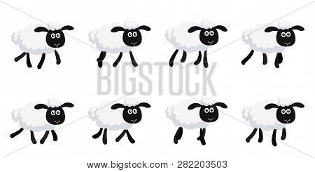 Vector Illustration Of Cartoon Trotting Sheep Sprite Sheet Isolated On White Background. Can Be Used