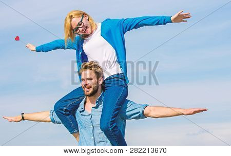 Couple In Love Enjoy Feeling Freedom Outdoor Sunny Day. Couple Happy Date Having Fun Together. Man C