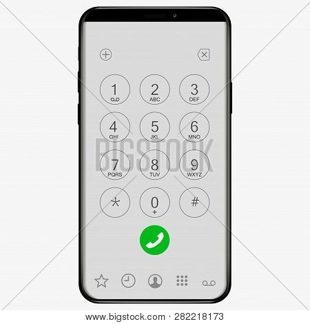 Keypad With Numbers And Letters For Phone. Ios User Interface Keypad For Smartphone. Keyboard Templa