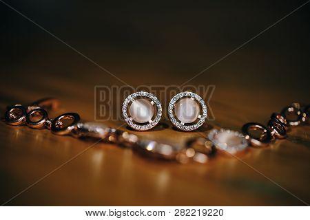Luxury Female Jewelry. Bridal Gold Wedding Jewellery, Pearl Jewelry