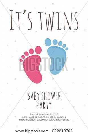 Baby Shower Party For Future Mommy Of Twins Template With Pink And Blue Toddler Footsteps.