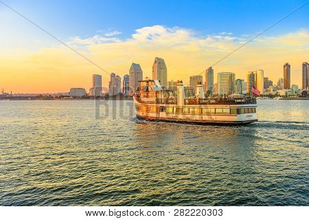 San Diego, California, United States - August 1, 2018: Ferry Cruise Goes Into Waters Of San Diego Ba