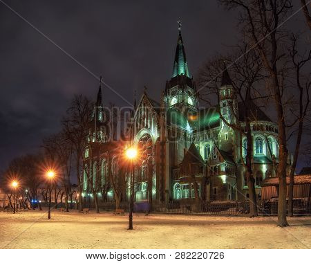 Beautiful Nightscape Of Neo-gothic Church Of Sts. Olha And Elizabeth In Lviv, Ukraine