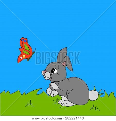 Hand Drawn Cute Rabbit And Butterfly Cartoons Style Over Grass And Sky Background