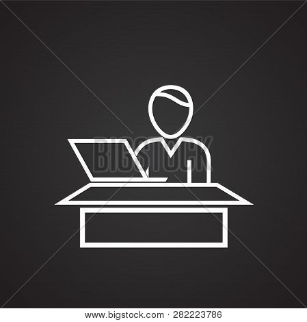 Business Personnel Working On Computer Thin Line On Black Background Icon