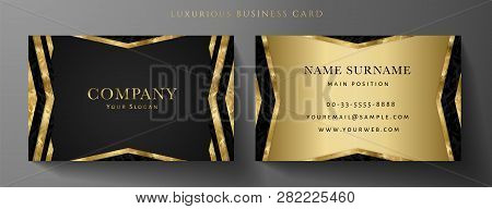Luxury Golden Business Card Template (gold Vip Gift Card). Art Deco Black Background. Luxe Modern Ve
