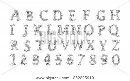 Hand Painted Vector Letters With Flowers. Floral Alphabet