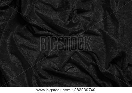Crumpled Luxurious Black Velvet Drape Background Texture