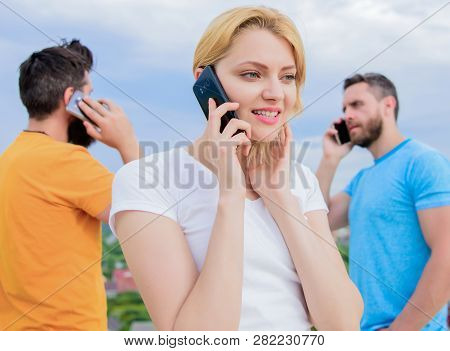 Wireless Communication. People And Technology. Group Of Friends Talking On Cell Phones. Modern Peopl