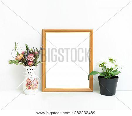 8x10 16x20 Frame Mockup, Light Background, White Wooden Frame In Interior,