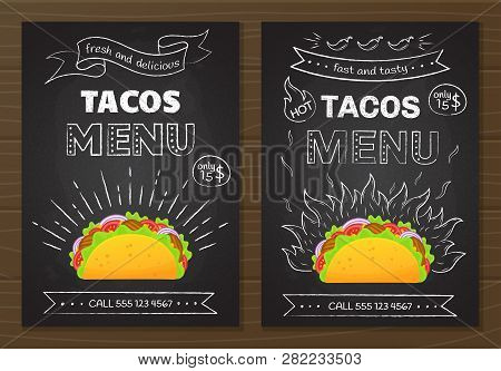 Mexican Cuisine Fastfood Tacos Menu. Colorful Beef Taco Graphic With Chalk Style Hand Drawn Decorati