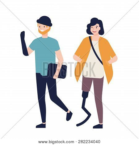 Happy Young Woman With Prosthetic Leg And Man With Artificial Arm Walking Together And Talking To Ea