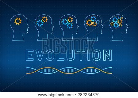 Head Silhouette With Gear Brain Evolution Concept Vector Illustration. Face Profile With Evolving Ge