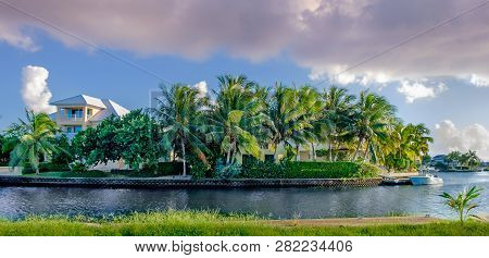 Grand Cayman, Cayman Islands, Nov 2018, House In The Grand Harbor Area By One Of The Canals Leading
