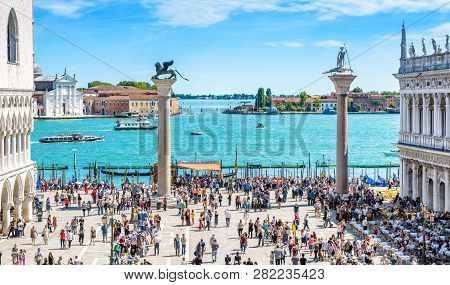 Venice, Italy - May 21, 2017: People Visit The Embankment At The Piazza San Marco In Venice. This Pl