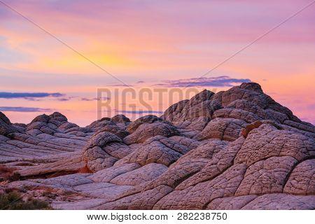 Vermilion Cliffs National Monument. Landscapes at sunrise. Unusual mountains landscape. Beautiful natural background.