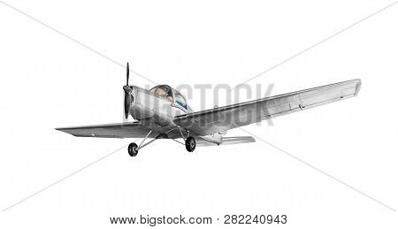Old Vintage Airplane Isolated On White Background.