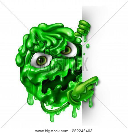 Mucus Character As A Green Snot Concept As A Runny Nose Liquid Shaped As A Contagious Monster With A