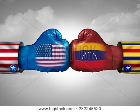 Usa Venezuela Conflict And United States Diplomatic Crisis Or Venezuelan Political Fight Situation A