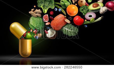 Vitamins Supplements Nutrition As A Capsule With Fruit Vegetables Nuts And Beans Inside A Nutrient P