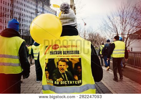 Strasbourg, France - Feb 02, 2018: People Demonstrating Marching With Placards During Protest Of Gil