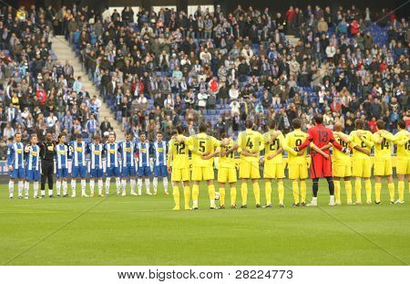 BARCELONA - MARCH 7: Minut of Silence for a earthquake Chilean victims before a Spanish League match between Espanyol and Villareal at the Estadi Cornella on March 7, 2010 in Barcelona, Spain