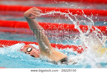BARCELONA, SPAIN - JUNE 9: Danish olympic medalist swimmer Lotte Friis swims crawl style during the Mare Nostrum meeting in Barcelona's Sant Andreu Club, June 9, 2010 in Barcelona, Spain.