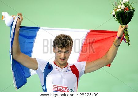 BARCELONA, SPAIN - JULY 28: Christophe Lemaitre of France celebrates victory on Men 100m Final of the 20th European Athletics Championships at the Olympic Stadium on July 28, 2010 in Barcelona, Spain