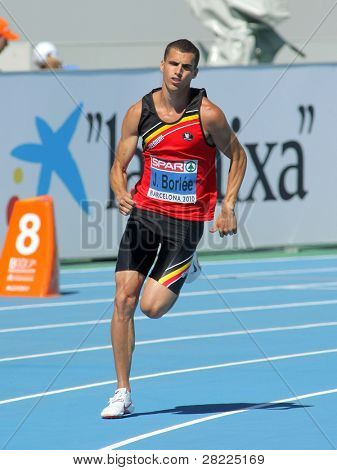 BARCELONA, SPAIN - JULY 27: Jonathan Borlee of Belgium competes in the Men 400m during the 20th European Athletics Championships at the Stadium on July 27, 2010 in Barcelona, Spain.
