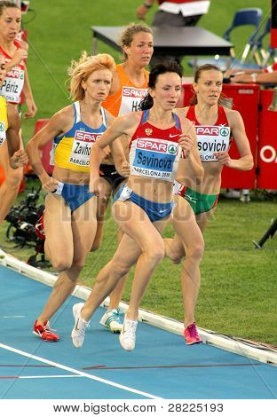 BARCELONA, SPAIN - JULY 27: Mariya Savinova of Russia compete in the Women 800m during the 20th European Athletics Championships at the Olympic Stadium on July 27, 2010 in Barcelona, Spain.