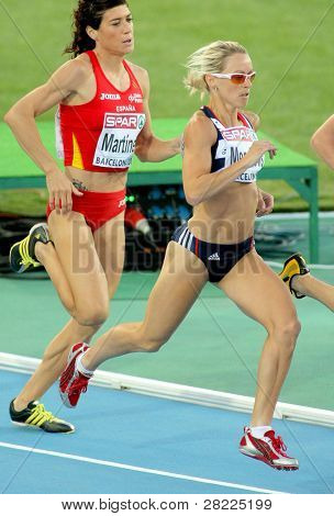 BARCELONA, SPAIN - JULY 27: Jennifer Meadows of Great Britain compete in the Women 800m during the 20th European Athletics Championships at the Olympic Stadium on July 27, 2010 in Barcelona, Spain.