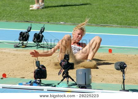 BARCELONA, SPAIN - JULY 27: Bianca Kappler of Germany competes on the Women long jump during the 20th European Athletics Championships at the Olympic Stadium on July 27, 2010 in Barcelona, Spain.