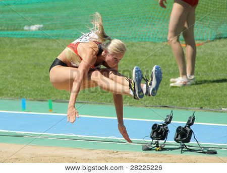 BARCELONA, SPAIN - JULY 27: Bianca Kappler of Germany competes on the Women long jump during the 20th European Athletics Championships at the Stadium on July 27, 2010 in Barcelona, Spain.