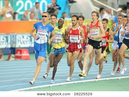 BARCELONA, SPAIN - JULY 28: Competitors of 1500 men event during the 20th European Athletics Championships at the Stadium on July 28, 2010 in Barcelona, Spain