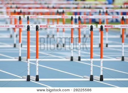 BARCELONA, SPAIN - JULY 29: Athletics Hurdles before 400m hurdles women event of the 20th European Athletics Championships at the Olympic Stadium on July 29, 2010 in Barcelona, Spain.