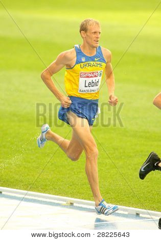 BARCELONA, SPAIN - JULY 29: Serhiy Lebid of Ukraine competes on the Men 5000m during the 20th European Athletics Championships at the Olympic Stadium on July 29, 2010 in Barcelona, Spain